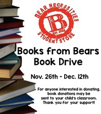 Bear Necessities Student Store Logo and Books from Bears Book Drive Dates