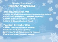 Winter Program Schedule with Snowflake Background