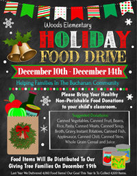 Holiday Food Drive Flyer with cans in paper bag clip art