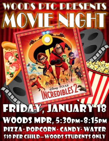 Movie Night Poster with the cartoon cast of Incredibles 2 pictured