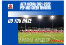 """Blue background with photo of the ASI Cheer Squad on a lit up football field. The text in the graphic reads, """"Alta Sierra 2021-2022 Pep and Cheer Tryouts - Do you have school spirit?"""""""