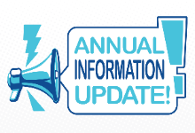 """Megaphone with speech bubble that reads, """"Annual Information Update."""""""