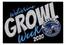 "Woods Logo with the words, ""Wolverine GROWL Week 2020""."