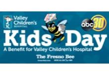 Valley Children's Hospital Giraffe Logo, Fresno Bee Logo and ABC 30 Logo next to heading that reads, Kids Day: A Benefit for Valley Children's Hospital.