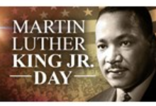 """Photo of Martin Luther King Jr. with a U.S. Flag and audience background that reads, """"Martin Luther King Jr. Day""""."""