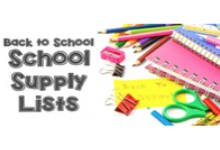 """Photo has text on the left that reads, """"Back to School Supply Lists"""" and a picture of colorful binder clips, scissors, post-its, notebooks and colored pencils on the right."""