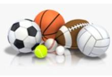 Photo of a soccer ball, basketball, football, volleyball, baseball, tennis ball and gold ball.
