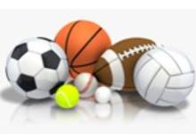 soccer ball, tennis ball, baseball, golf ball, basketball, football, volleyball