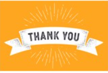 """A white banner that reads, """"Thank You"""" with a yellow background."""