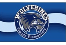 Woods Elementary School Logo in front of a blue wave