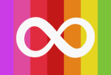 Rainbow Background with solid white infinity symbol