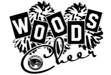 Pom poms behind block letters that spell WOODS Cheer and the school logo