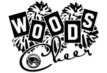 """Black & White Pompoms behind the text, """"WOODS Cheer"""" and the Woods School Logo."""