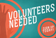 Volunteers Needed wording with a picture of a raised hand