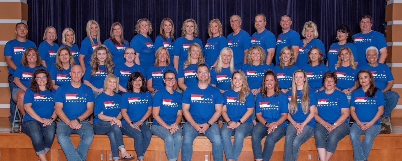 Photo of the 2019-2020 Woods Elementary Staff.