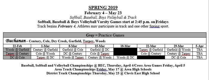 Photo of the BHS Area elementary school names and the dates they compete in spring athletics.