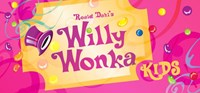Golden Ticket with the words Roald Dahl's Willy Wonka Kids on top and a top hat with candy sprinkled throughout