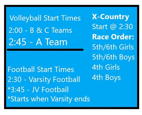 schedule of fall sports