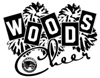 Pompom background with text that reads Woods Cheer and a photo of the school logo